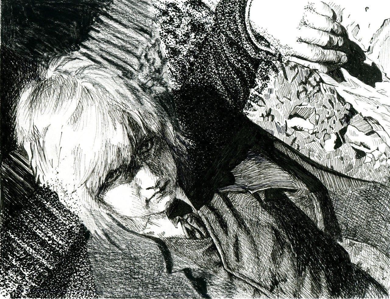 Self-Portrait Drawn Using Four Techniques - Graphic, Cross-Hatch, Line Art, Stippling.