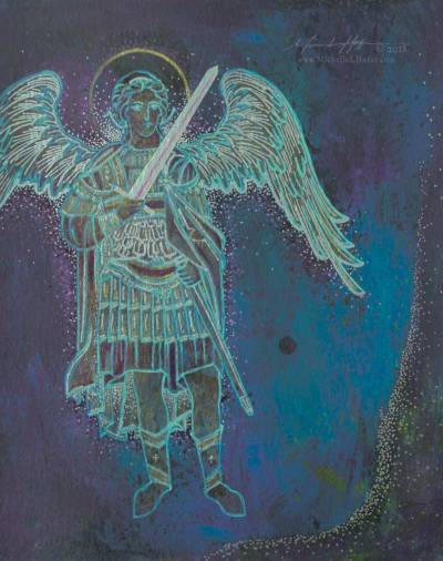 Abstract acrylic painting by Michelle L Hofer featuring the warrior angel Michael.