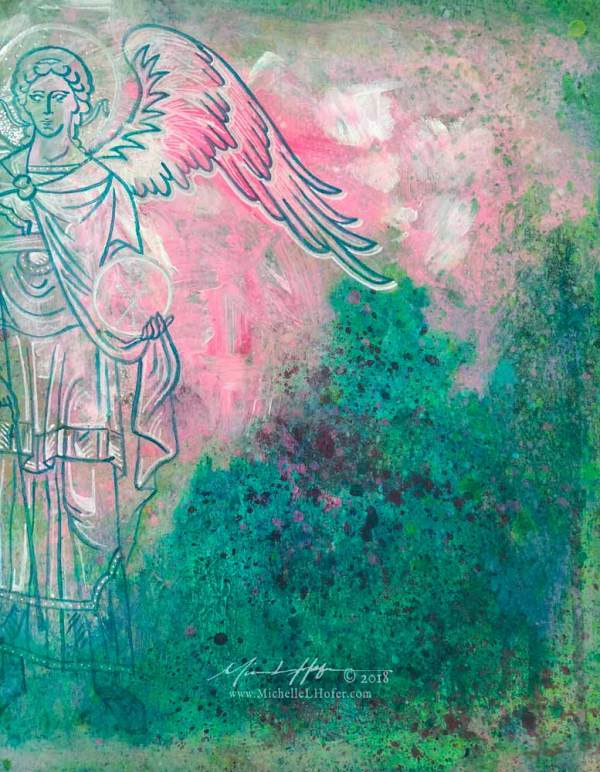 Abstract acrylic painting by Michelle L Hofer featuring the divine messenger angel Gabriel.