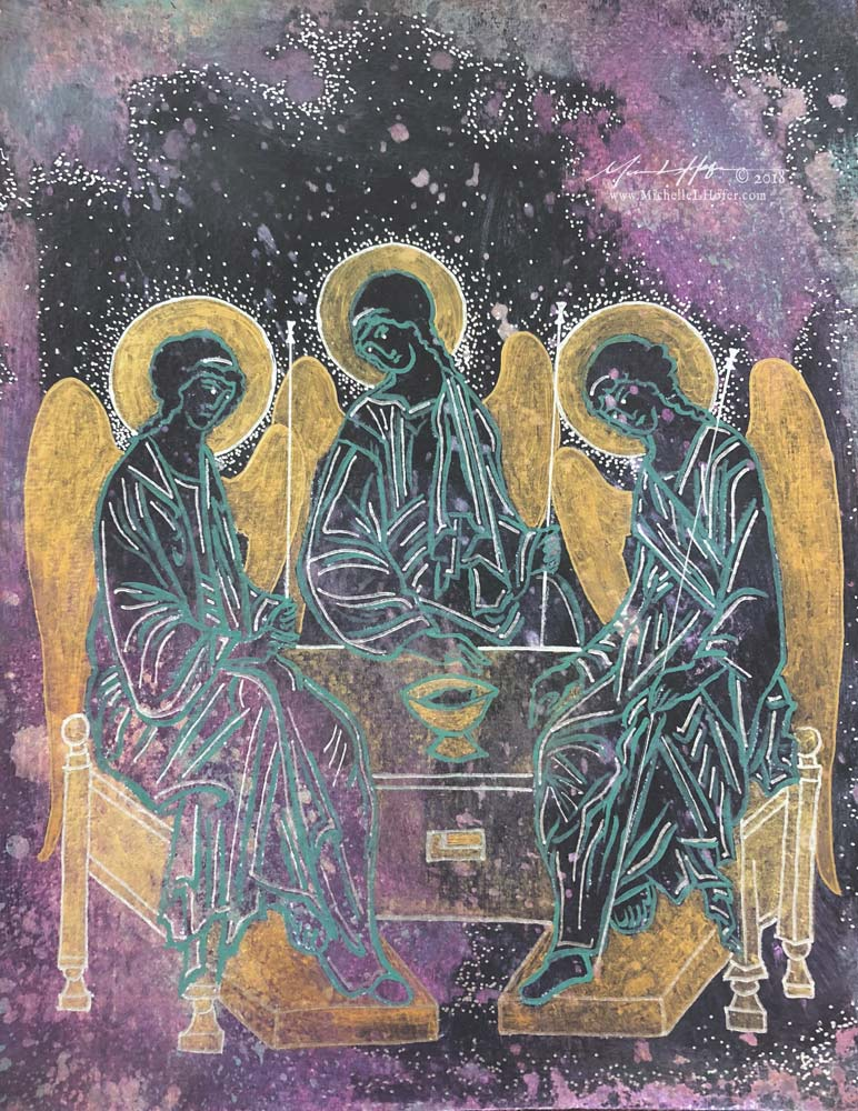 Abstract acrylic painting by Michelle L Hofer featuring the Holy Trinity after Andrei Rublev's Hospitality of Abraham.