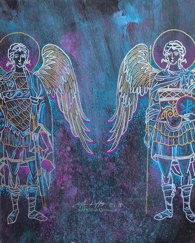 Abstract acrylic painting by Michelle L Hofer featuring the divine messenger angel Gabriel and the divine warrior angel Michael.