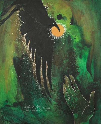 Abstract acrylic painting by Michelle L Hofer featuring the prophet Elijah's hand and a raven bringing him bread.