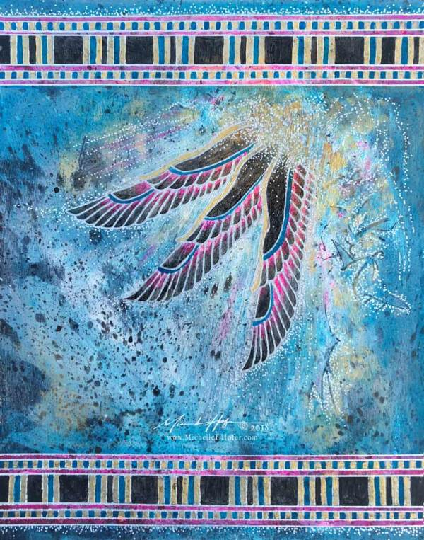 Abstract acrylic painting by Michelle L Hofer featuring an Egyptian inspired interpretation of praising angels.