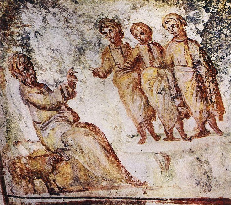 Fresco with Abraham and his three visitors, Via Latina Catacomb, Rome (4th century).