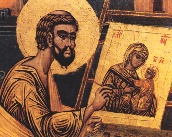 Old icon depicting Luke painting Mary holding Jesus