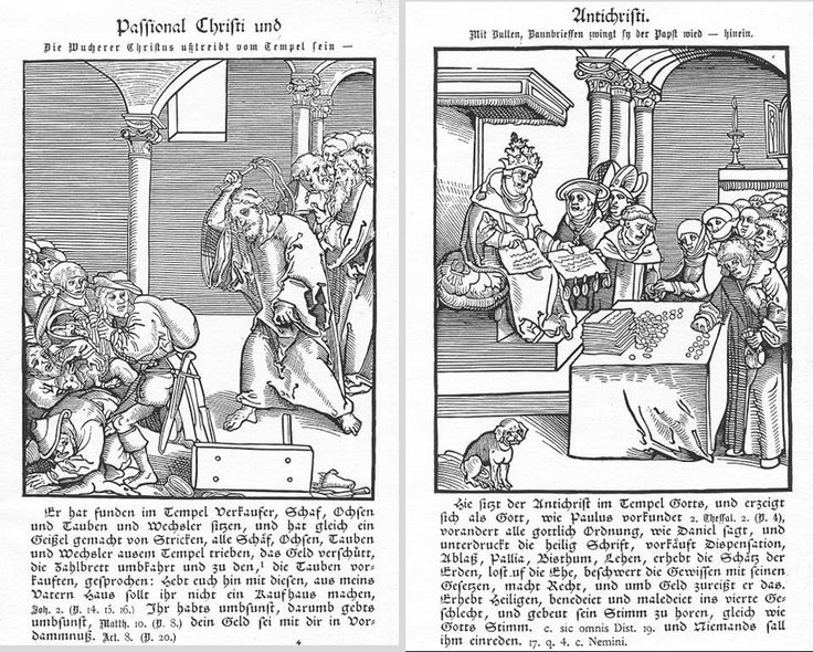 Passional of Christ and Antichrist (1521), woodcut by Lucas Cranach the Elder
