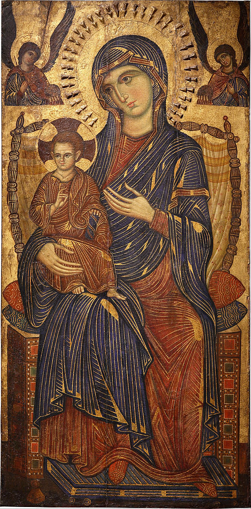 Madonna and Child Enthroned (13th century), Italian panel painting. Pushkin State Museum of Russia.