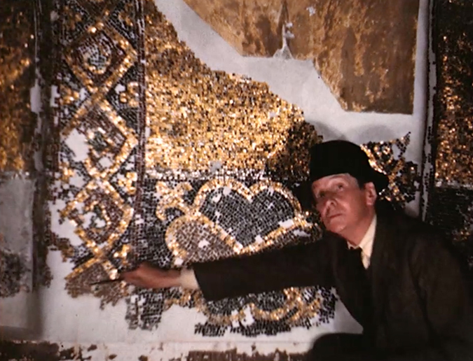 Thomas Whittemore tracing and explaining decorative mosaic patterns in the Hagia Sophia (1940). Photo by Dumbarton Oaks Research Library and Collection.
