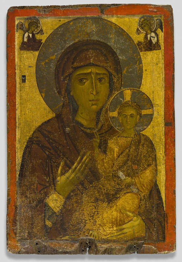 Icon with the Virgin and Child, 1175–1200, made in Greece. Egg tempera on wood with gold leaf, 45 1/4 x 30 1/2 in. Image courtesy of the Byzantine Museum, Kastoria, no. 457