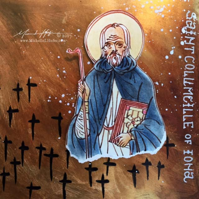 Saint Columcille's Battle, Part 2 - Abstract acrylic painted book page featuring a pen and ink portrait of Saint Columcille of Iona with hand lettered name from the Book of Saints by Michelle L Hofer.