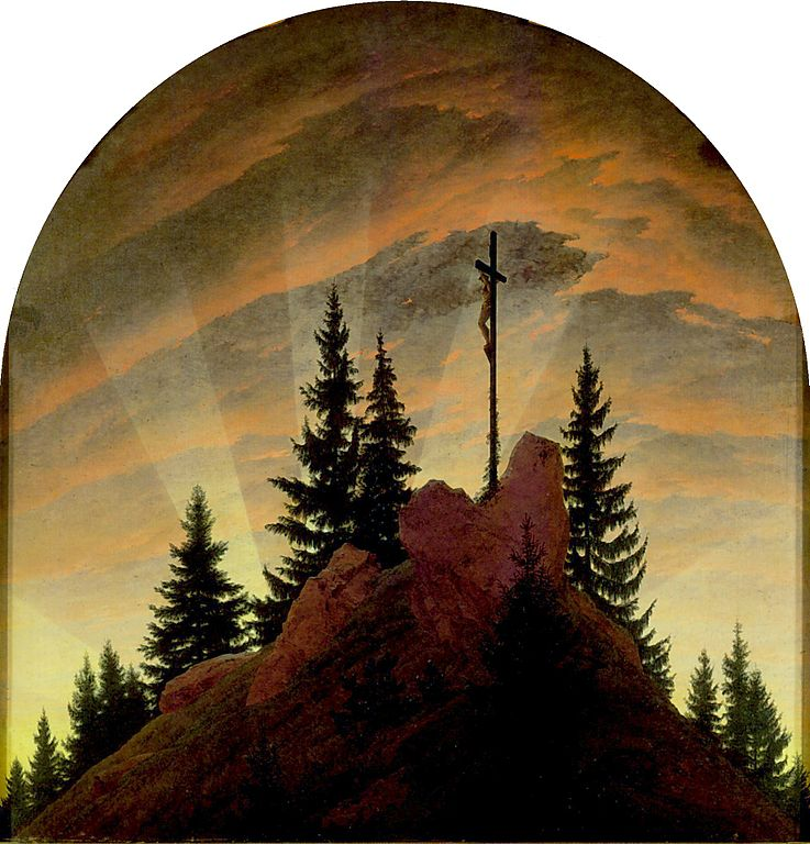 Cross in the Mountains — altarpiece Tetschen (1807-1808) by Caspar David Friedrich