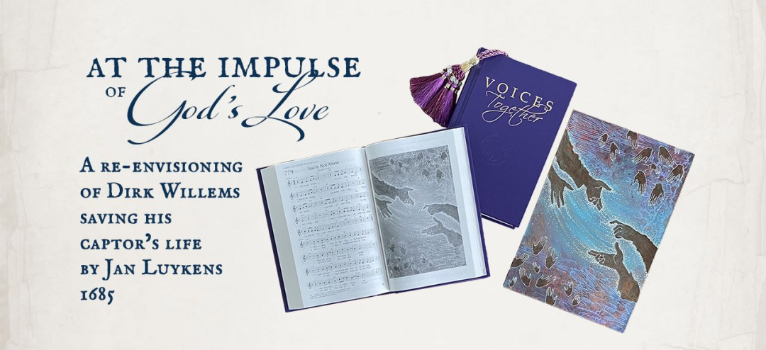At the Impulse of God's Love by Michelle L Hofer - artwork for the Voices Together Hymnal