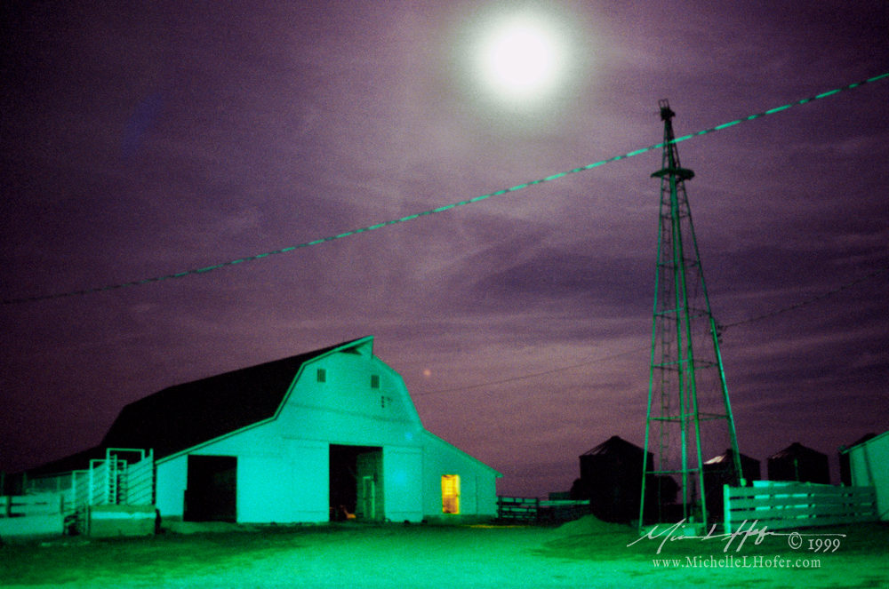 Barn with Moon, 10:02pm by Michelle L Hofer - color photograph,1999