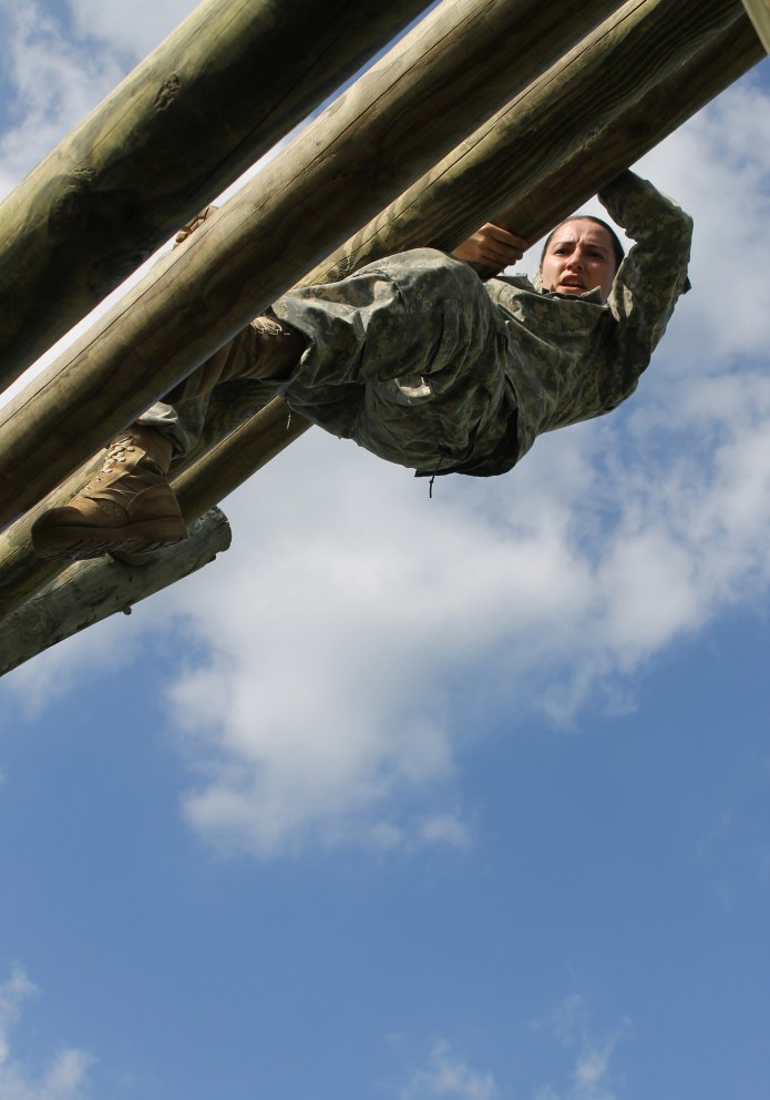 Army Reserve Staff Sgt. Justine Bottorff, a Herkimer, N.Y. native and drill sergeant with Echo Company, 2-389th Infantry Regiment, 3rd Brigade, 98th Training Division (Initial Entry Training), navigates an obstacle during the 108th Training Command (IET) 2017 Drill Sergeant of the Year Competition at Camp Bullis, Texas, March 19-24. Bottorff won the title of 98th Training Division (IET) Drill Sergeant of the Year. (U.S. Army Reserve Photo by Maj. Michelle Lunato/released)