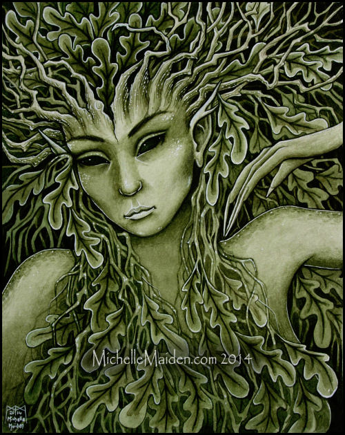 Dryad art, nature spirit art, Greek Mythology, pagan art