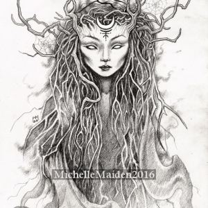 forest spirit, woodland guardian, pagan pencil drawing