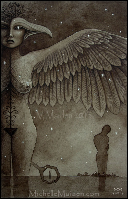 mystical art, surreal dark art, Goddess Ishtar, Astarte, Star Goddess, Asherah, ancient Cycladic bird headed woman