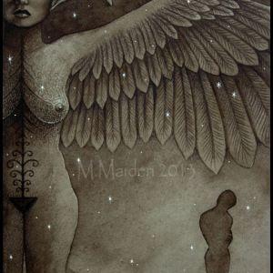 mystical art, surreal dark art, Goddess Ishtar, Astarte, Star Goddess, Asherah, ancient Cycladic bird headed woman