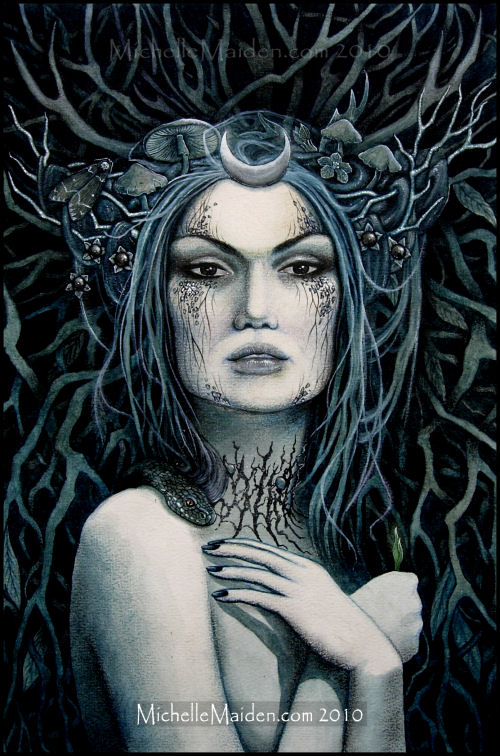 dark faerie art, winter fairy, pagan art