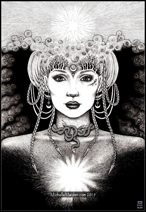 The Star, mystical PRINT, mystic art, Sophia Goddess, Ishtar star, illumination, visionary art, shamanic, chakras, divine feminine