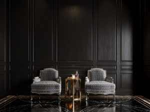 Black, gold and marble accent chairs