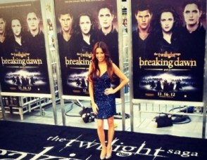 #MMSteez - Twilight Breaking Dawn Premiere (Celebuzz Correspondent) - Dress: Aidan Mattox | Shoes: Dolce Vita | Jewelry: Lia Sophia