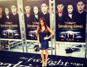 #MMSteez - Twilight Breaking Dawn Premiere (Celebuzz Correspondent) - Dress: Aidan Mattox | Shoes: Dolce Vita | Jewelry: Lia Sophia