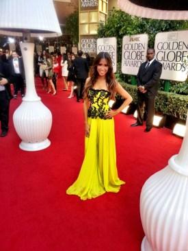 #MMSteez - Golden Globes (Celebuzz Correspondent): Dress: Chagoury Couture | Jewelry : Alberto Parada | Makeup: Venessa White | Hair: Dylan Chavles