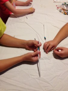 Thanksgiving bead necklace making
