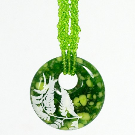 Fern design in white, on emerald cast glass pendant with beaded necklace
