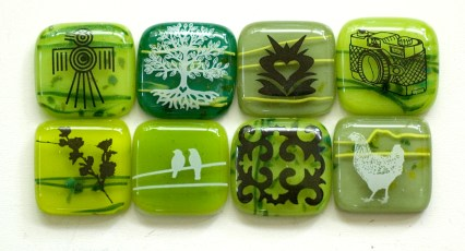 Various glass fusing decals designs on glass pendants