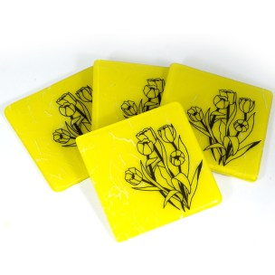 Tulips in Black on vibrant yellow coaster set