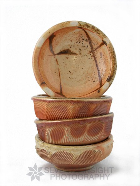 Faceted ceramic bowl collection by Terry Osborne Pottery
