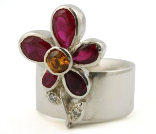 Sterling silver and gemstone ring by Pagliai Jewellery