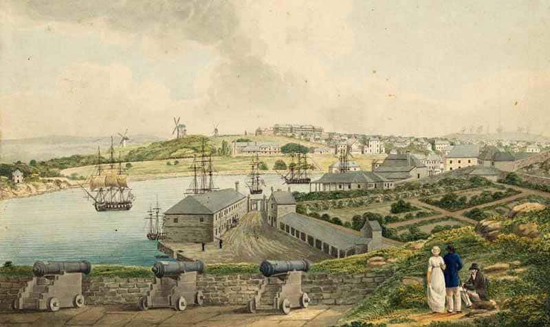 Sydney Cove from Dawes Point - painting by Joseph Lycett, 1817. Source: State Library NSW