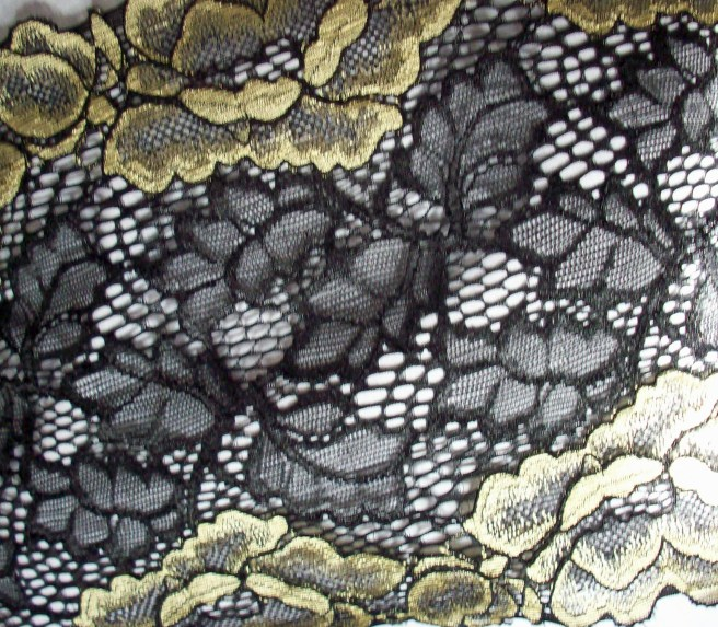 black lace with gold flowers