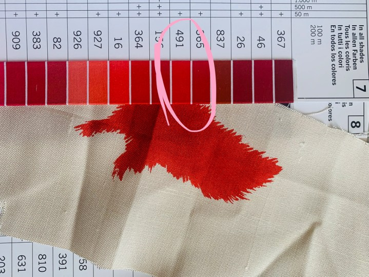 Tips: Use a thread colour chart