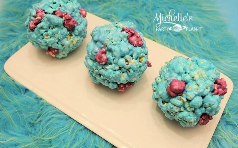Monsters University Inspired Sulley Popcorn Balls