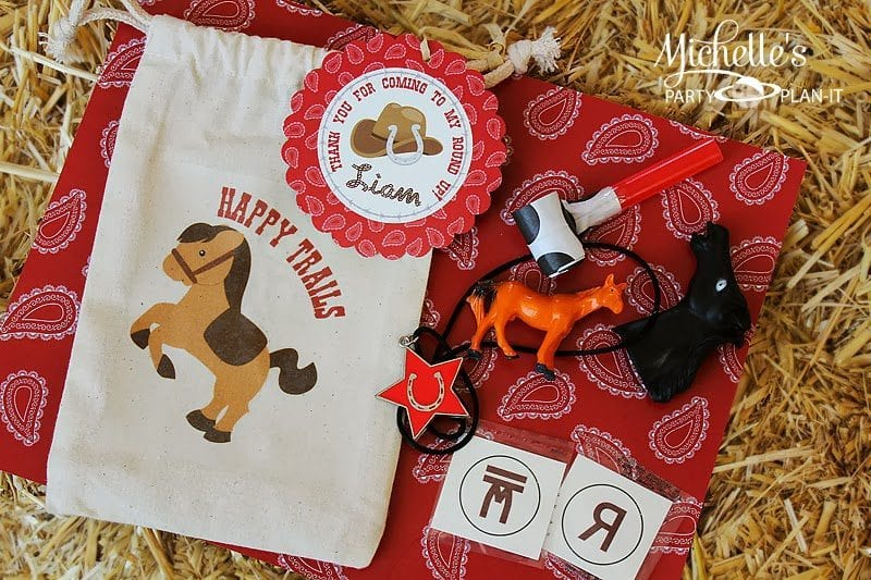 DIY Happy Trails Western Themed Party Favor Bags FREE