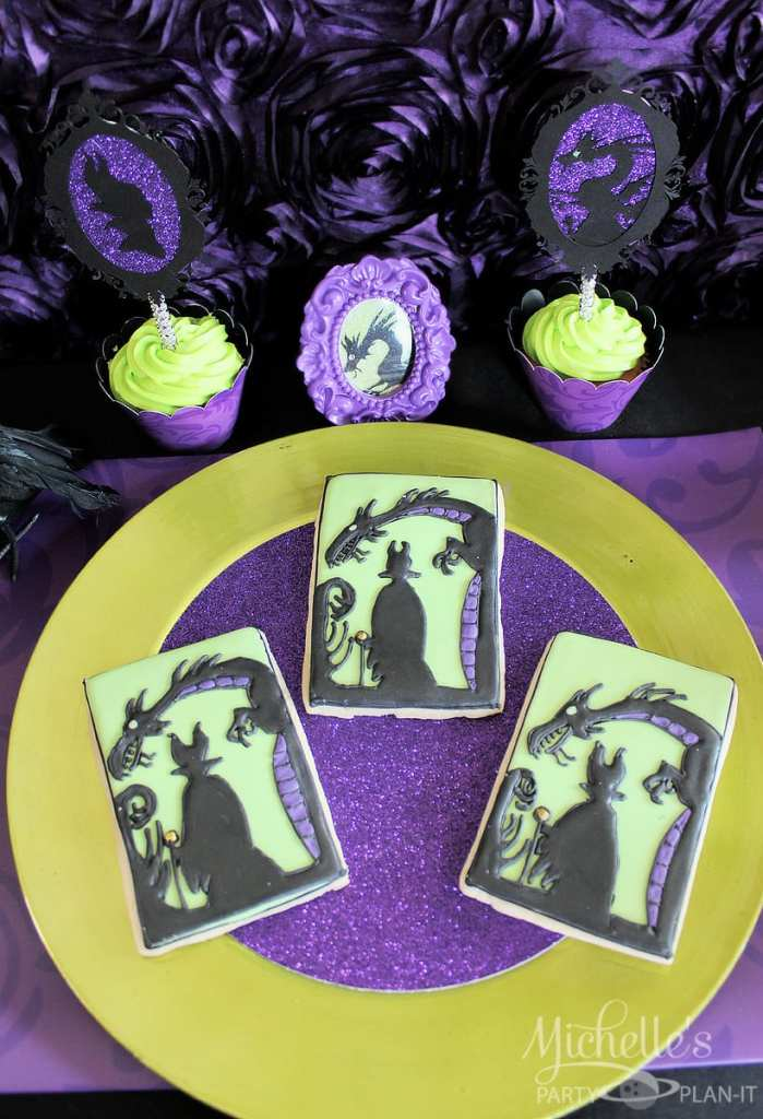 Maleficent Party Ideas - Maleficent Cookies and Cupcakes