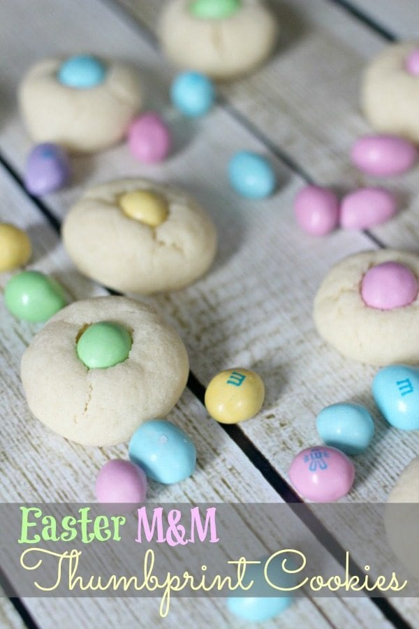 Easter M and M thumbprint cookies