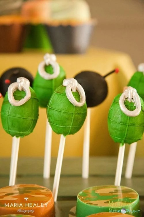 Army Party Cake Pops