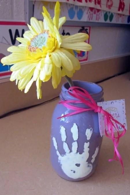 Handprint Mason Jar
