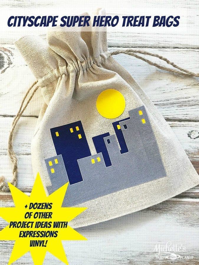 Cityscape Treat Bags | Super Hero Party Ideas
