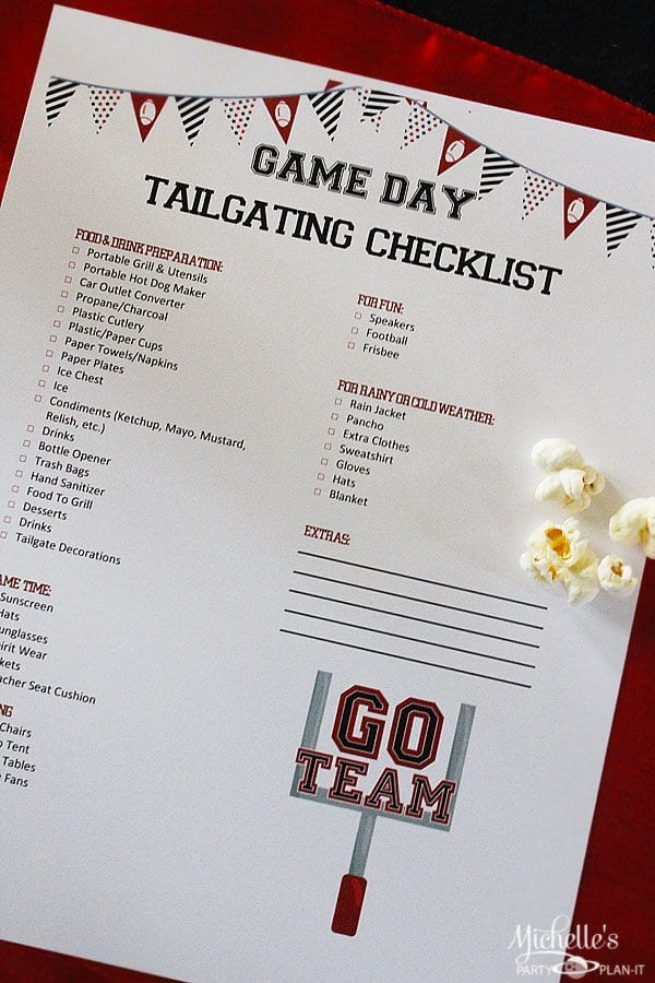 Free Tailgating Checklist Printable