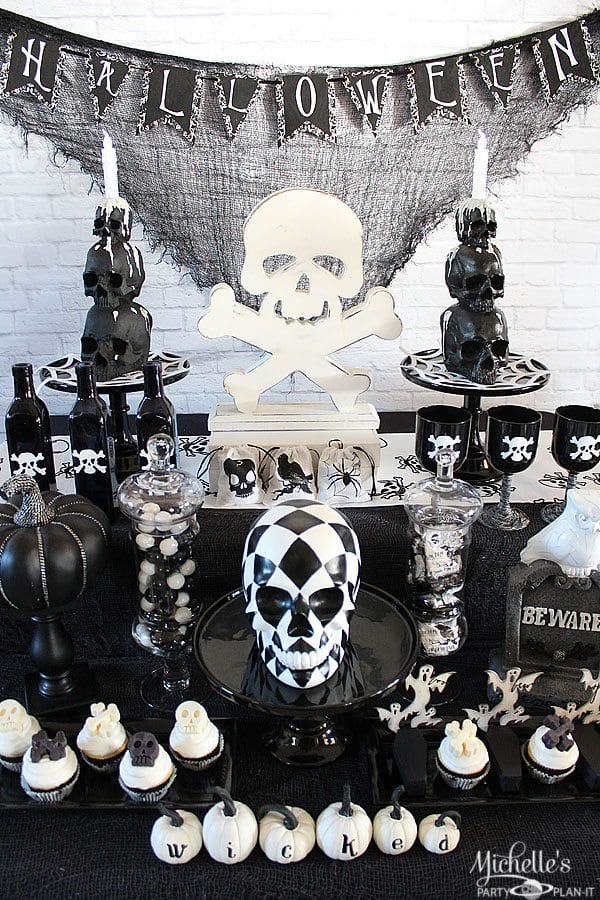 Black and White Halloween Skull Party