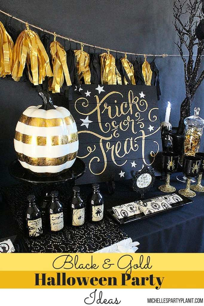 Black n gold halloween party ideas