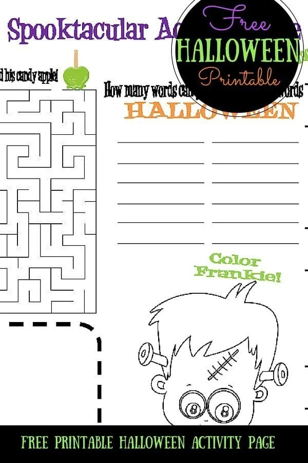 Free Printable Halloween Activity Page