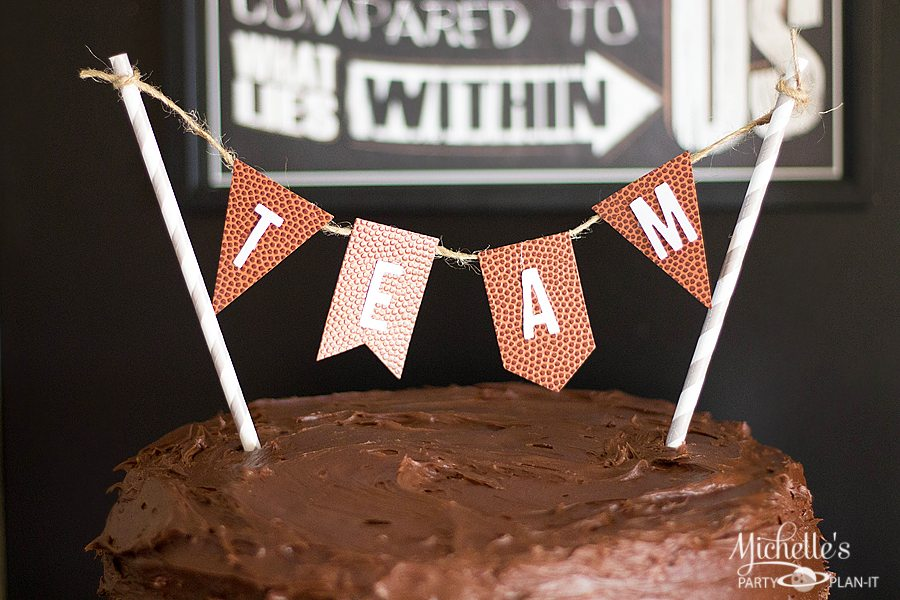 Vintage Football Party Cake Topper