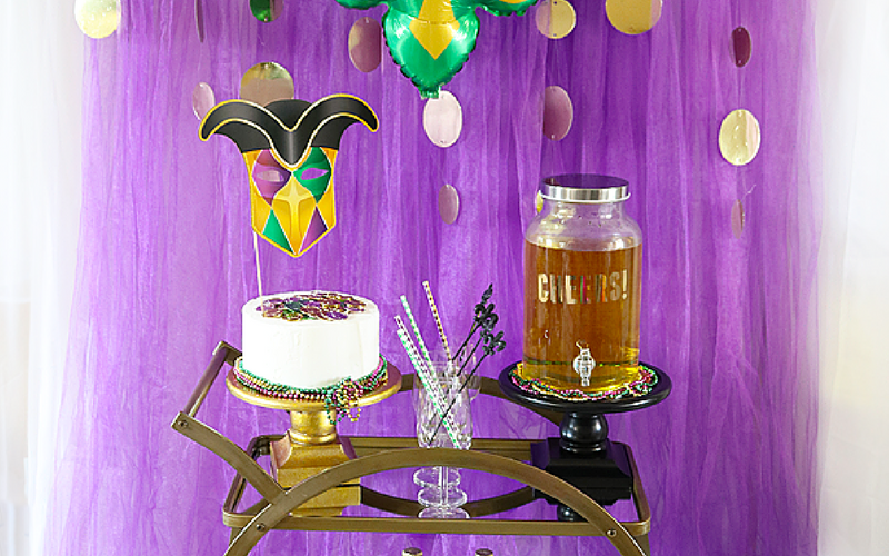 Mardi Gras Celebration Ideas – A Kid Friendly Bar Cart